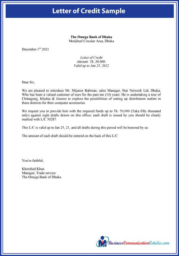 Letter of Credit Sample