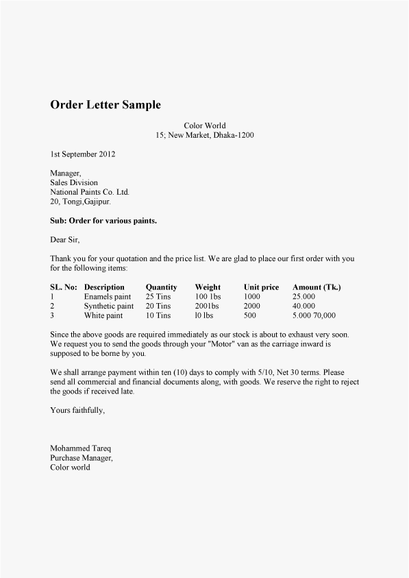 Order Letter Sample And Confirmation