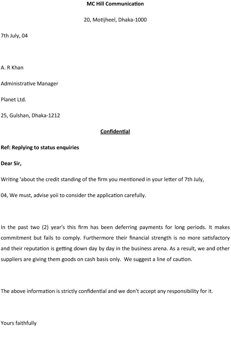 Inquiry Letter For Business Status Inquiry Letter Sample For Effective Communication