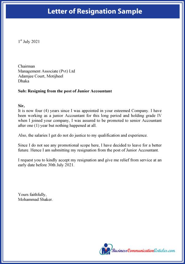 Letter of Resignation Sample